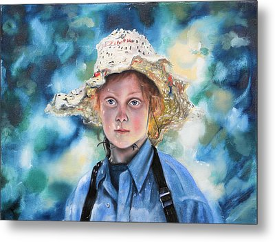 Girl In Straw Hat Metal Print by Richard Barone
