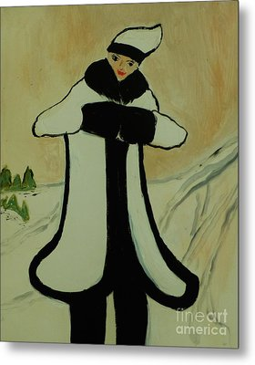 Girl In The Snow Metal Print by Marie Bulger