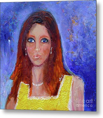 Girl In Yellow Dress Metal Print by Claire Bull