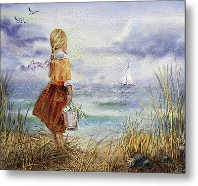 Metal Print featuring the painting Girl Ocean Shore Birds And Seashell by Irina Sztukowski