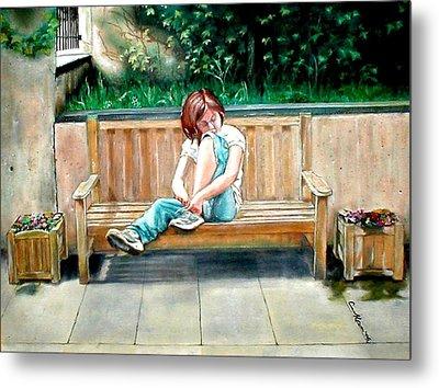 Girl On A Bench Metal Print