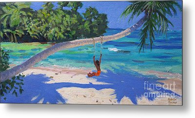 Girl On A Swing, Seychelles Metal Print by Andrew Macara