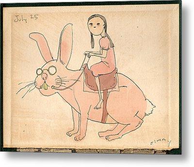 Girl On Rabbit Metal Print by H James Hoff