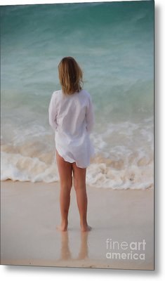 Metal Print featuring the painting Girl On The Beach by Jan Daniels