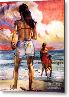 Girl On The Beach Metal Print by Stan Esson