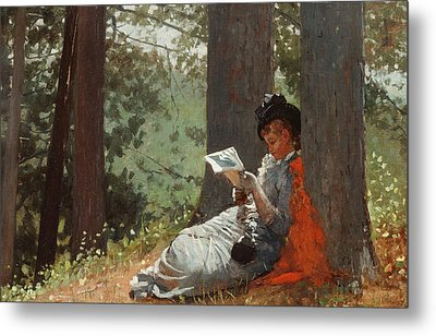 Girl Reading Under An Oak Tree Metal Print by Winslow Homer
