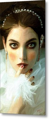 Metal Print featuring the painting Girl Ready To Party by James Shepherd