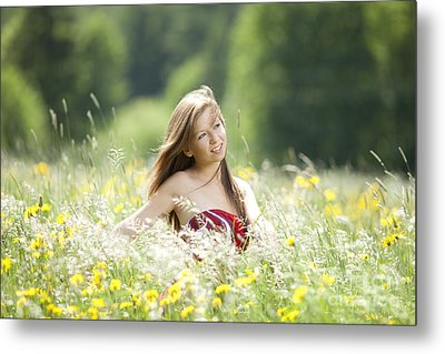 Girl Revolves Cheerfully In A Meadow Metal Print