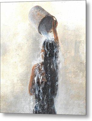 Girl Showering Metal Print by Lincoln Seligman