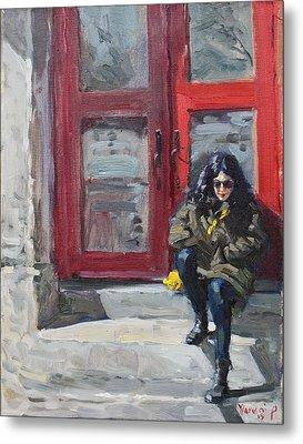 Girl Sitting At Red Doorstep Metal Print by Ylli Haruni