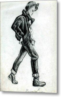 Girl Walking Self Portrait Metal Print