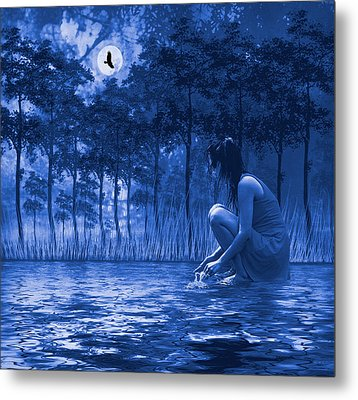 Girl Washing At The River Metal Print by Diane Schuster