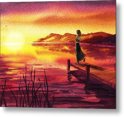 Girl Watching Sunset At The Lake Metal Print