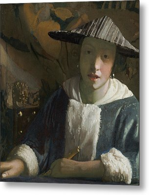 Girl With A Flute Metal Print by Attributed To Johannes Vermeer