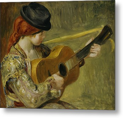 Girl With A Guitar Metal Print by Pierre Auguste Renoir