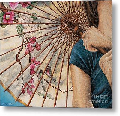 Girl With A Parasol Metal Print