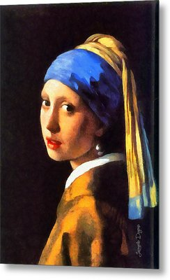 Girl With A Pearl Earring By Johannes Vermeer Revisited - Da Metal Print