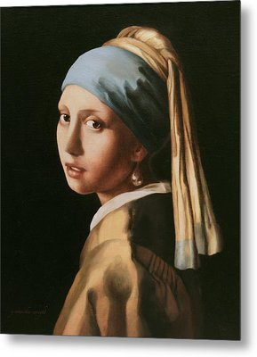 Girl With A Pearl Earring - After Vermeer Metal Print