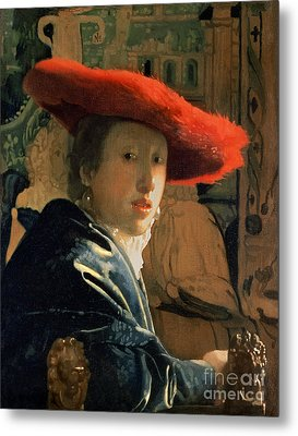 Girl With A Red Hat Metal Print by Jan Vermeer