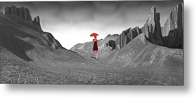 Girl With A Red Umbrella 2 Metal Print by Mike McGlothlen