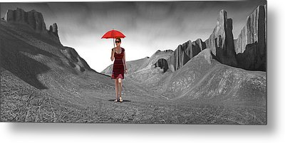 Girl With A Red Umbrella 3 Metal Print by Mike McGlothlen
