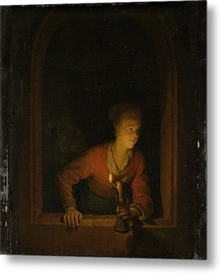 Girl With An Oil Lamp At A Window Metal Print by Gerard Dou