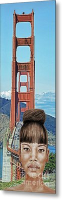 Girl With Bangs And Her Hair In A Bun By The Golden Gate Bridge  Metal Print by Jim Fitzpatrick