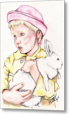Girl With Bunny Metal Print by Denny Phillips