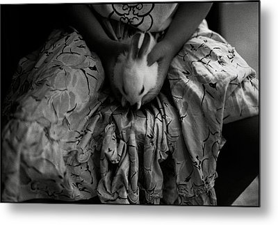 Girl With Bunny Metal Print by Werner Hammerstingl