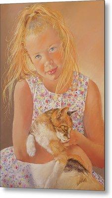 Girl With Cat Metal Print