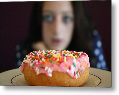 Girl With Doughnut Metal Print