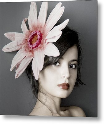 Girl With Flower Metal Print