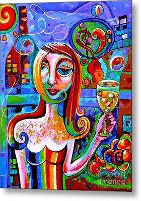 Girl With Glass Of Chardonnay Metal Print