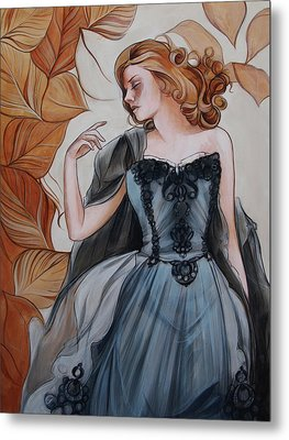 Girl With Golden Leaves Metal Print by Jacque Hudson