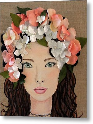 Girl With Peach Flowers Metal Print