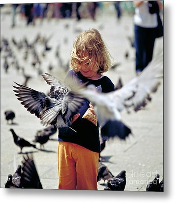 Girl With Pigeons Metal Print by Heiko Koehrer-Wagner