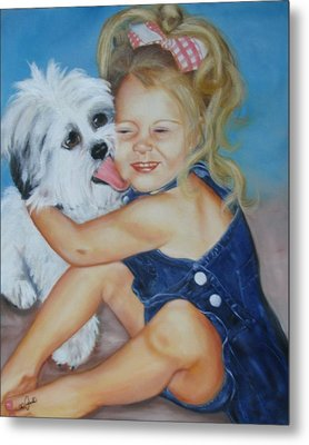 Metal Print featuring the painting Girl With Puppy by Joni McPherson