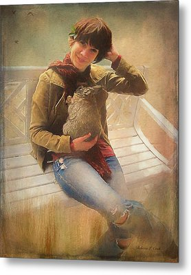 Metal Print featuring the photograph Girl With Rabbit by Bellesouth Studio