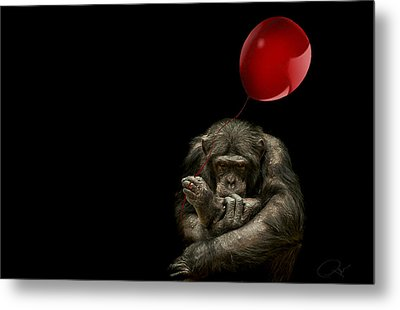Girl With Red Balloon Metal Print by Paul Neville