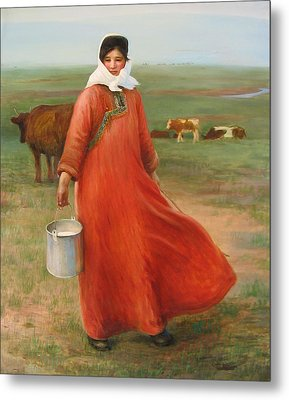 Girl With Red Robe  Metal Print