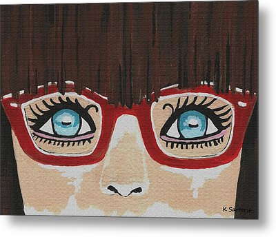 Metal Print featuring the painting Girl With The Red Glasses by Kathleen Sartoris