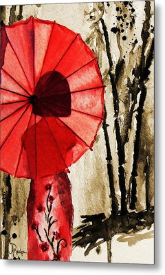Girl With The Red Umbrella  Metal Print