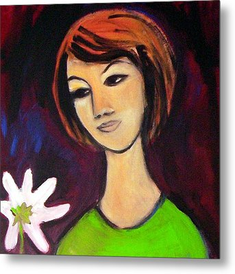Metal Print featuring the painting Girl With White Flower by Winsome Gunning