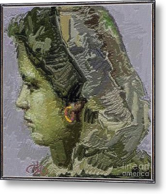 Girl With Yellow Earring Gwye2 Metal Print