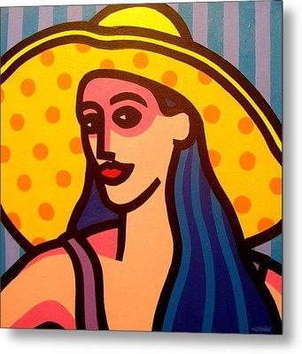 Girl With Yellow Hat Metal Print by John  Nolan