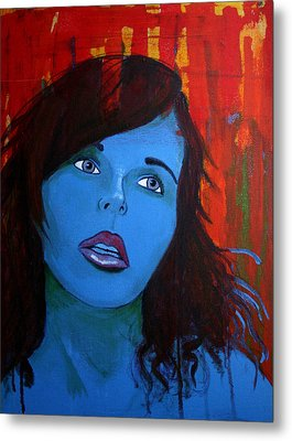 Metal Print featuring the painting Girl5 by Josean Rivera