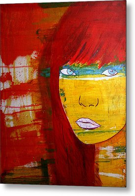 Metal Print featuring the painting Girl6 by Josean Rivera