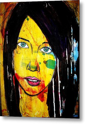 Metal Print featuring the painting Girl9 by Josean Rivera