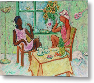 Metal Print featuring the painting Girlfriends' Teatime V by Xueling Zou