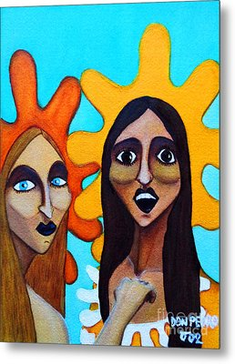 Metal Print featuring the painting Girls Caught In Fraganti by Don Pedro De Gracia